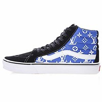 Best Deal Online Louis Vuitton LV x Vans SK8-HI Men Women Sneaker Black White Blue VN-0XH7DVD