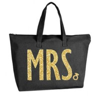 Gold Silver or your choice Glitter color Mrs Large Black Tote Bag zipper closure Bride Newlywed Bridal Wedding Shower Bachelorette Party