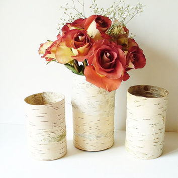 Birch Bark Vase Rustic Country Cottage by jadenrainspired on Etsy