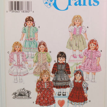 "Simplicity 9856 (c. 1996) Simplicity Crafts 18"" Fashion Doll Clothes, 18 Inch Doll Dresses, Prairie Sun, Sewing Pattern, Gifts, Playtime"