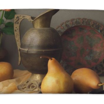 Bath Mat, Vintage Still Life With Brown Pears