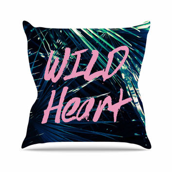 "Ann Barnes ""Wild Heart 1"" Pink Green Outdoor Throw Pillow"