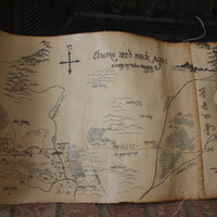 """Map of Middle Earth by Bilbo Baggins (There and Back Again)  11""""x 31"""" Antiqued & Sealed"""