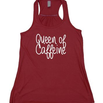 Queen Of Caffeine Tank Top Coffee Lover Energy Drinks Flowy Racerback Tank