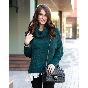 Grace & Lace Cowl Neck Cloud Sweater (Teal)