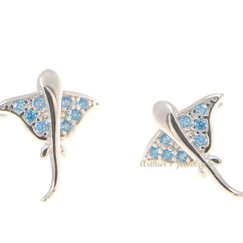 925 Sterling Silver Rhodium Blue Topaz Hawaiian Stingray Post Stud Earrings