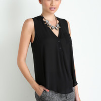 Trina Black Sleeveless Blouse