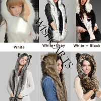 2014 Animal Winter Warm Faux Fur Hat Fluffy Plush Cap Hood Scarf Shawl Glove Xmas HOT = 1931514628