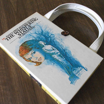 Book Purse Nancy Drew Whispering Statue Book Handbag Upcycled Book Bag Vintage Book Purse