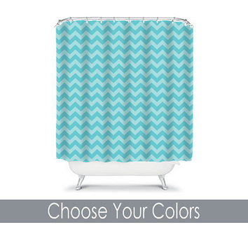 Shower Curtain CUSTOM Aqua Blue Chevron Nautical Bathroom Bath Polyester Made in the USA You Choose Colors