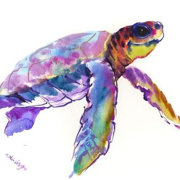 Sea Turtle, purple blue, marine blue children room artwork, original painting