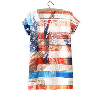 American Flag And Statue Of Liberty Printed Tee