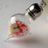 Stained Glass Bottle Jewelry, Apple Necklace, Glass Vial Pendant, Teacher Jewelry, Back to School