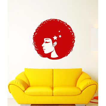 Vinyl Wall Decal Beautiful African Girl Hairstyle Woman Face Stickers (3090ig)