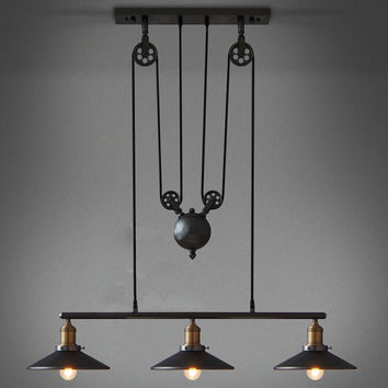Restoring Ancient Industrial Style American Country vintage loft pulley pendant lights adjustable pendant lamps free shipping