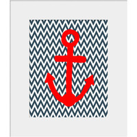 Wall Decor- Kids Wall Art- Prints for Wall- Red Anchor with Chevron Background- Nautical Nursery-Ocean Theme Prints