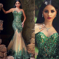 2017 Evening Gown Prom Party  Women Formal Dresses Pageant With Mermaid Neck Beads Crystals Green Hollow Back Green Red  Cheap