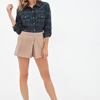 FOREVER 21 Tartan Plaid Shirt Navy/Green
