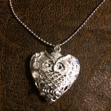 Silver Heart with Owl Pendant Essential Oil Diffuser Locket~Necklace~Aromatherapy