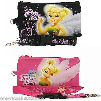 DISNEY TINKERBELL PINK AND BLACK LANYARD WITH DETACHABLE COIN POUCH/PURSES-NEW