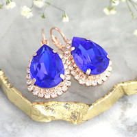 Blue earrings, Royal Blue Earrings, Bridal Blue Earrings, Blue Swarovski Earrings, Gift For Her, Sapphire Blue Crystal Drop Crystal Earrings