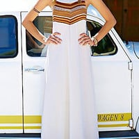 White Stripe Paneled Boho Maxi Dress