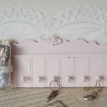 Chic Fairytale Pink Beadboard Shelf Jewelry or by cottagehomedecor