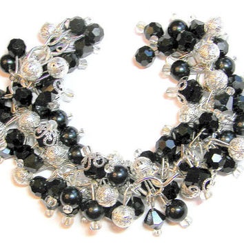 Black and Silver Beaded Cluster Bracelet, Black Pearls, Crystals and Silver Filigree Balls, Holiday Bracelet, Sparkling