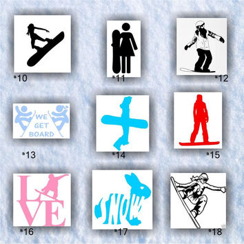 SNOWBOARDING vinyl decals - #10-18 - customizable and mulitiple colors available - car window stickers