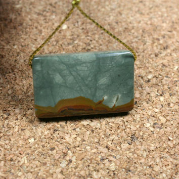 Owyhee Picture Jasper Rectangle Pendant - Teal and Brown Smooth Focal