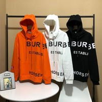 """""""Burberry"""" Unisex Loose Personality Letter Print Long Sleeve Sweater Couple Hoodie Tops"""