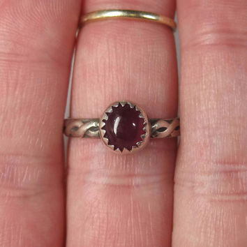 Vintage Sterling Pigeon Blood Ruby Ring Size 7