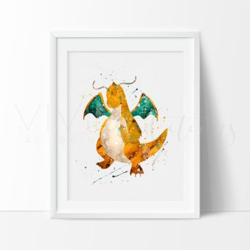 Dragonite, Pokemon Go Watercolor Art Print