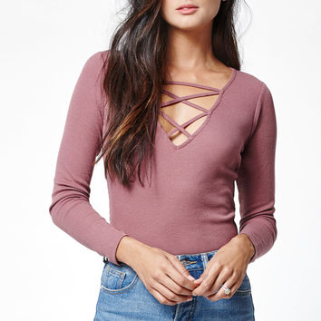 Me To We Ribbed Lace-Up Long Sleeve T-Shirt at PacSun.com