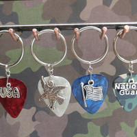Patriotic Key Chain, 16 Colors Guitar Pick Choice, USA, Eagle, Flag, National Guard, Split Key Ring
