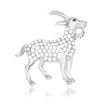 Pure White Crystal Animal Goat Brooch Pin