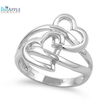 Double Heart Ring Solid 925 Sterling Silver Interlocked Heart Simple Plain Interlocking Hearts Ring Valentins Love Wife Girlfriend Gift