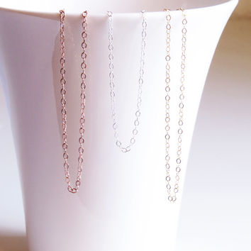 Simple Thin Chain, Delicate Chain Necklace, Thin Gold Chain, Gold, Sterling Silver or Rose Gold Fill Simple Necklace, Everyday Necklace