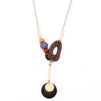 Wood Geometric Candy Color Bead Long Necklace Pendant