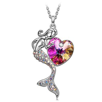 Valentines Day Gifts Fairytale Little Mermaid Swarovski Crystal Pendant Necklace, Jewelry For Women Gifts For Mom