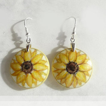 Light Sunflower Earrings, Sterling Silver, Dangle Earrings, 925, Hand Painted Earring, Sunflower, White Yellow Earring Wood Art, 1 inch Disc