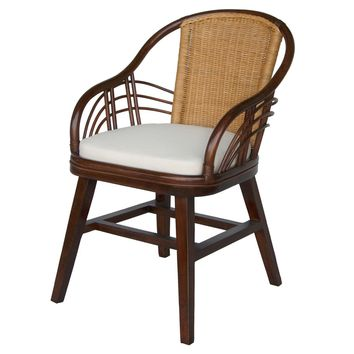 Blair Rattan Side Chair, Toffee/Honey Brown