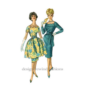 1960s Cocktail Evening Party DRESS Square Scalloped Neckline Fit & Flare Dress and Overskirt Bust 36 Simplicity 3717 Vintage Sewing Patterns
