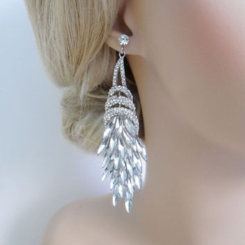 Wedding Flower Bouquet Drop Clear Swarovski Crystal Earring