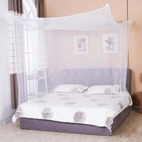 New White Four Corner Bed Net Post Canopy-Mosquito Net Twin Queen King Size Netting