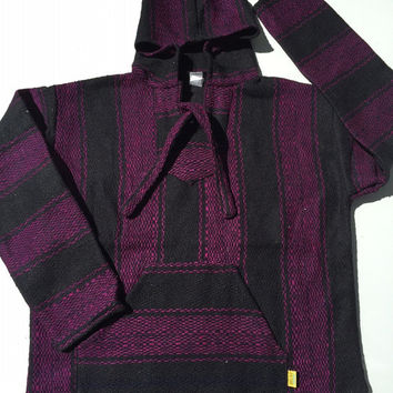 Mexican Threads Baja Drug Rug Hoodie Pullover Sweatshirt | Baja Jacket Poncho Black & Purple | Boho Gypsy