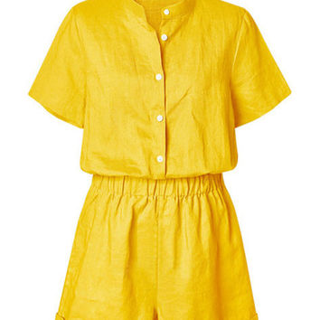 Summer Stand Collar Short Sleeve Linen Button Rompers Plus Size
