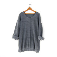 Vintage gray henley sweater. thermo knit shirt. oversized sweater top. loose fit sweater.