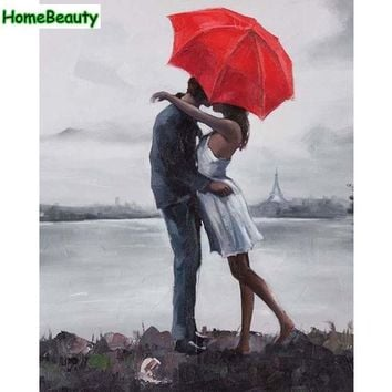 Oil paintings draw by numbers on canvas lover kiss under umbrella pictures by numbers for the kitchen wall art home decor W6672