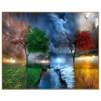 PHKV Diy Pictures By Numbers New Design Canvas Digital Drawing Coloring Oils Painting By Numbers Fantasy Landscape Tree Wall Art